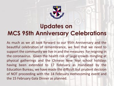Updates on MCS 95th Anniversary Celebrations
